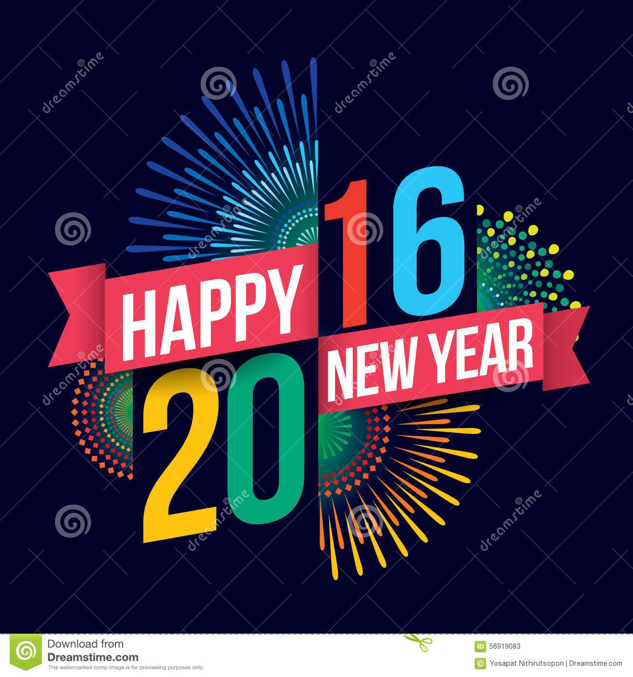 Happy New Year 2016 Stock Vector.