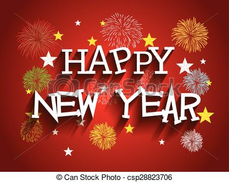 vector clipart of beautiful text happy new year 2016 with