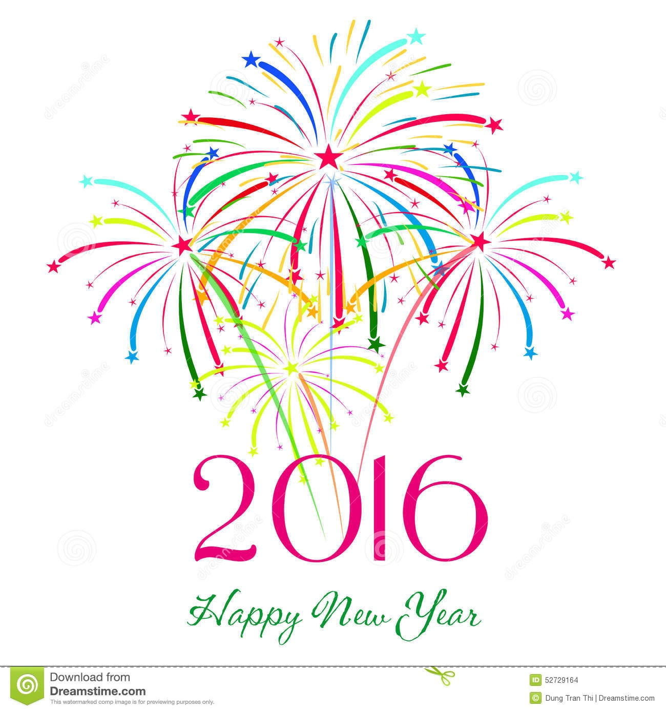 Fireworks New Year 2016 Clip Art.