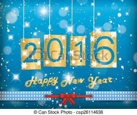 Vectors of Happy New Year 2016 Blue Greeting Card csp26114638.
