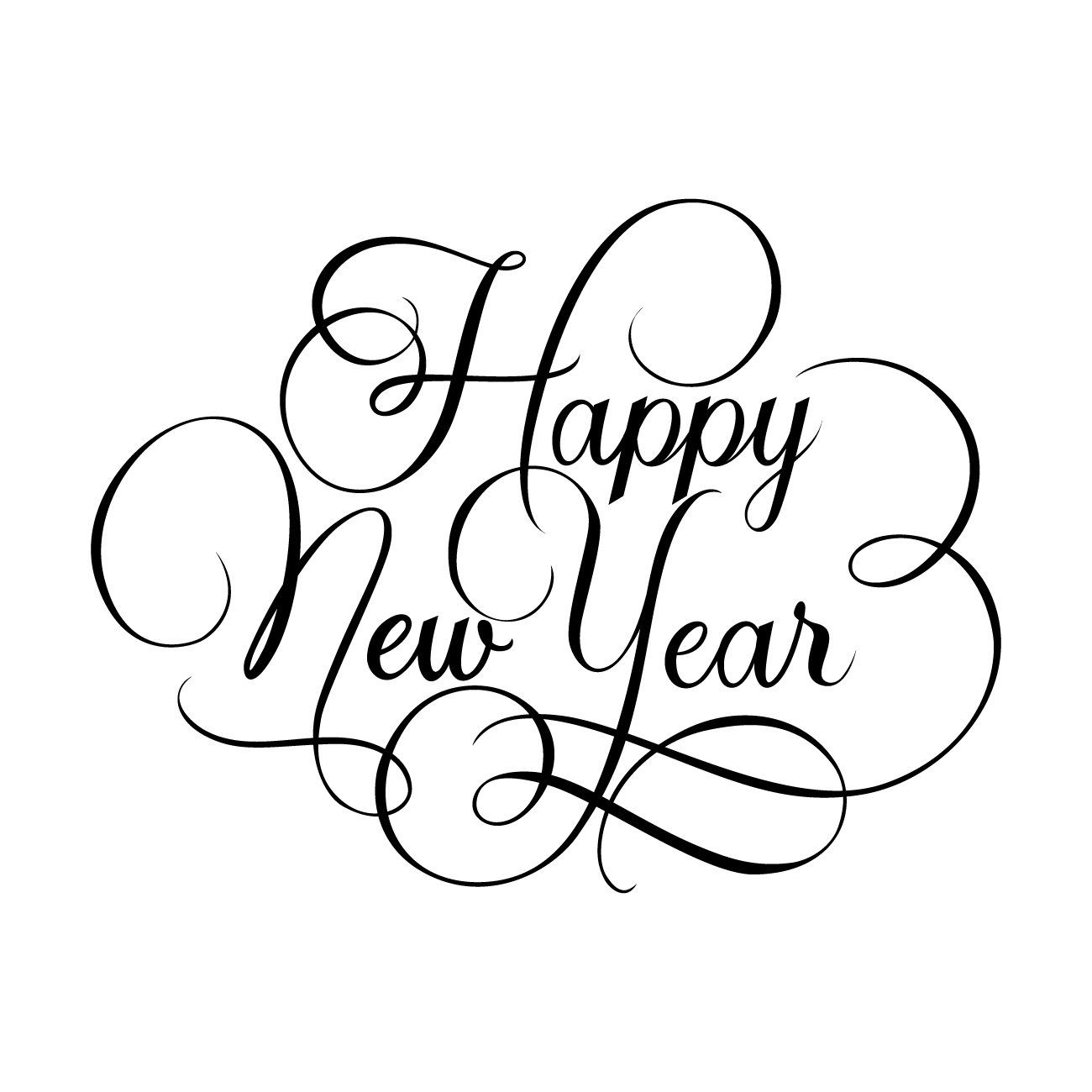 New Year Clock Clipart Black And White.
