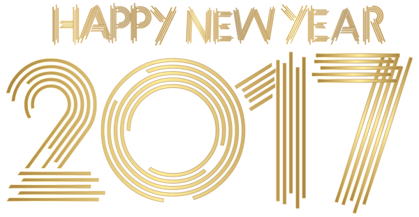 Gold Happy New Year 2017 transparent PNG.