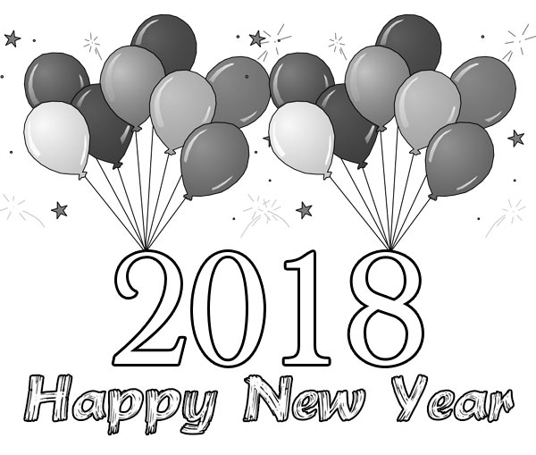 Happy New Year 2018 Clipart Black And White.