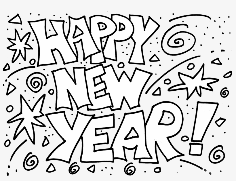Happy New Year 2018 Coloring Pages.