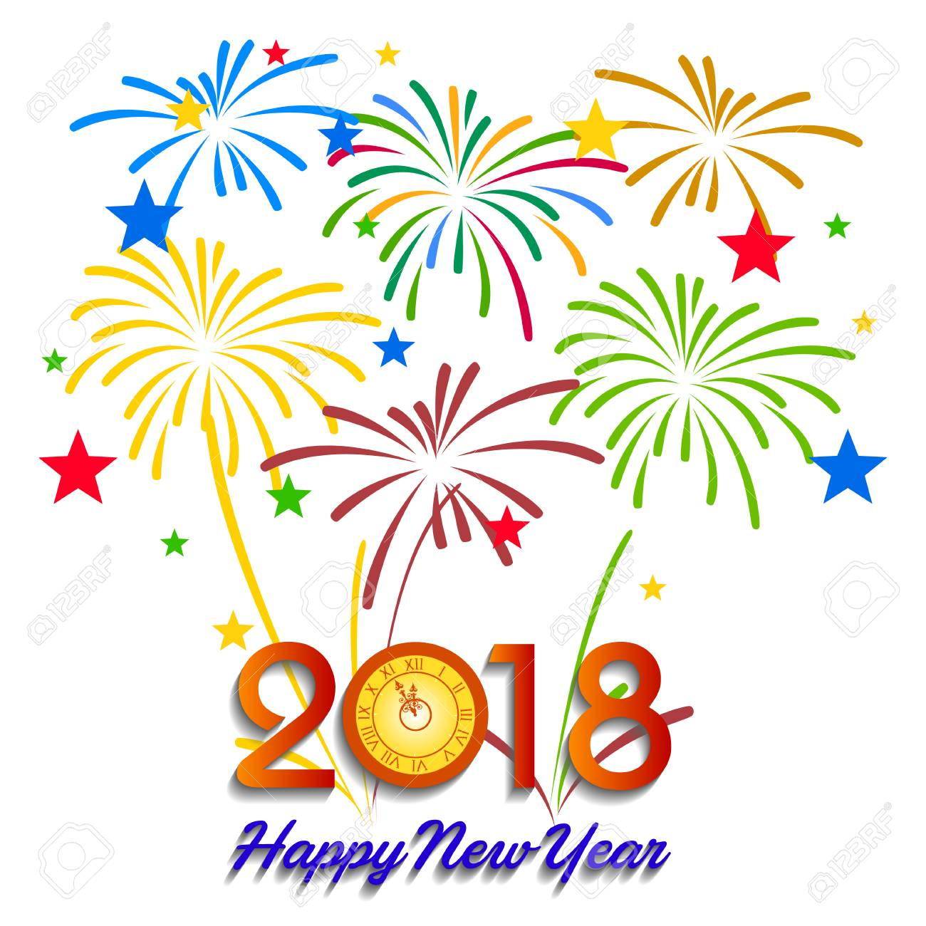 Vector illustration of Colorful fireworks. Happy new year 2018...