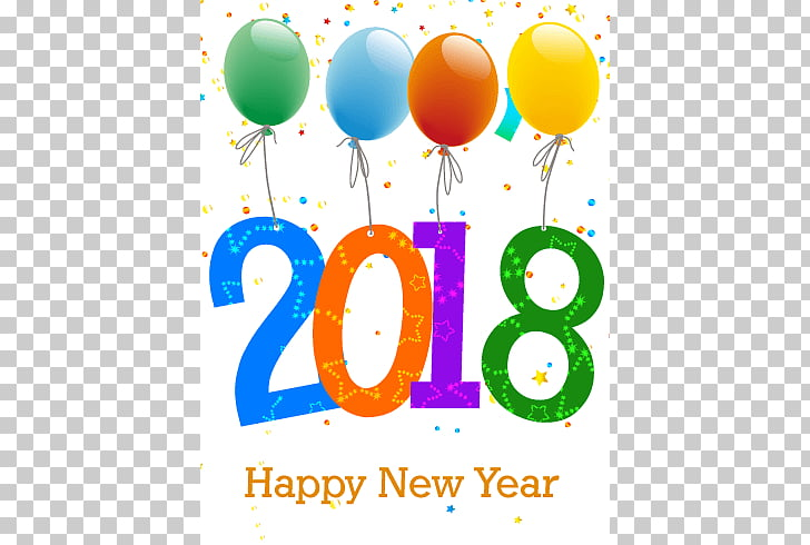 Happy New Year 2018 Balloons, white background with text.