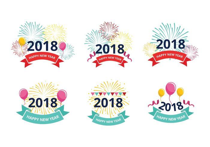 Happy New Year 2018 Greeting Free Vectors.