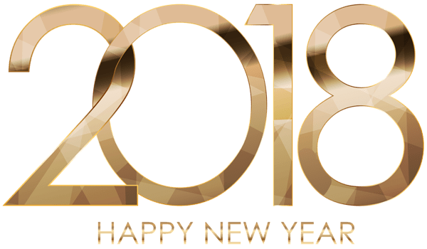 2018 Happy New Year Golden Letters transparent PNG.