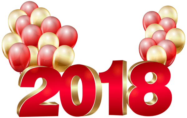 Happy New Year 2018 With Balloons transparent PNG.