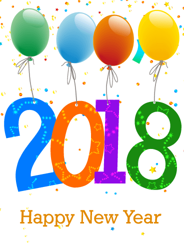 Happy New Year 2018 Balloons transparent PNG.