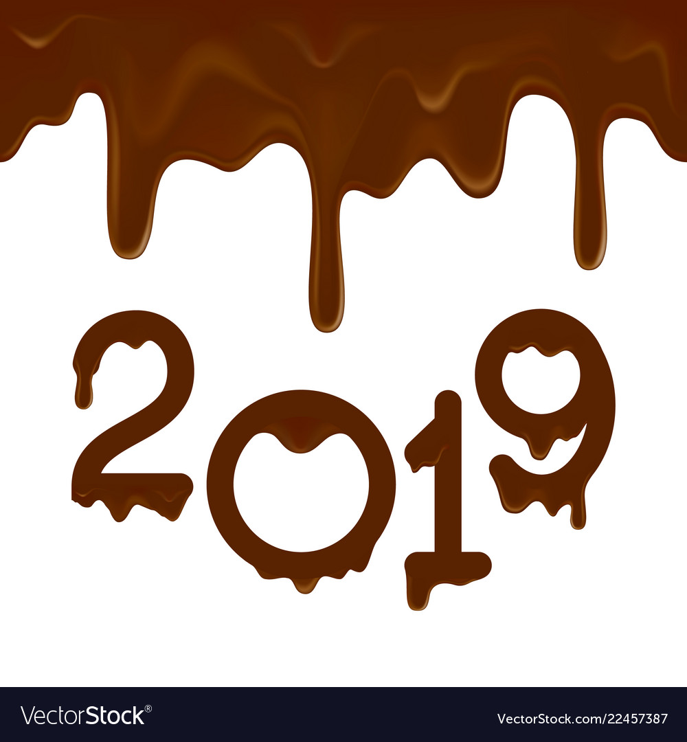 Happy new year 2019 banner with chocolate drips.