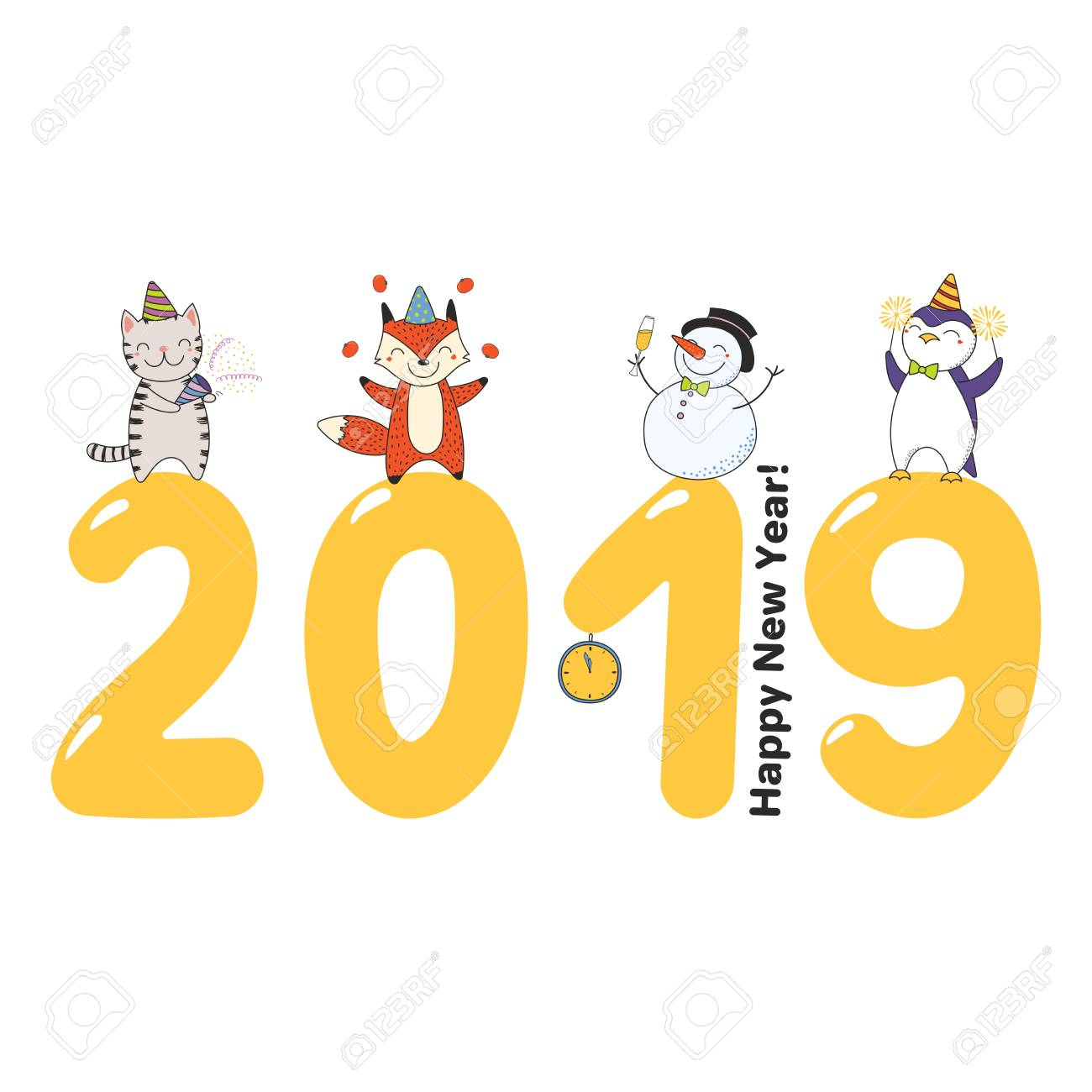 Hand drawn Happy New Year 2019 greeting card, banner template...