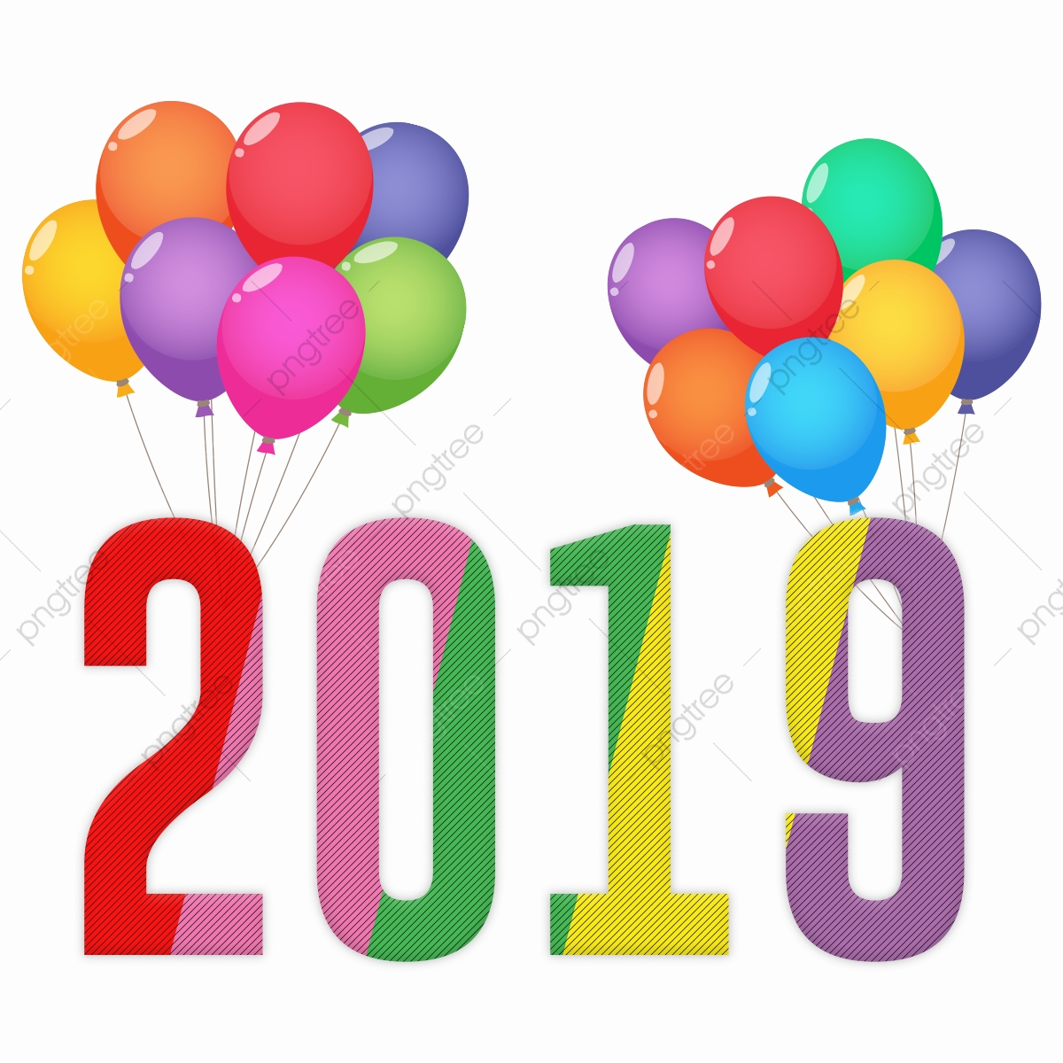 Happy New Year 2019 With Ballon, Carnival, Club, Concert PNG.