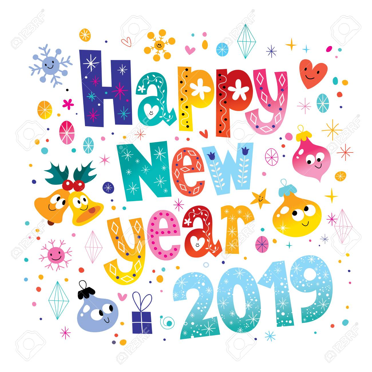 Happy New Year 2019 card with doodles of gift, stars, hearts,...