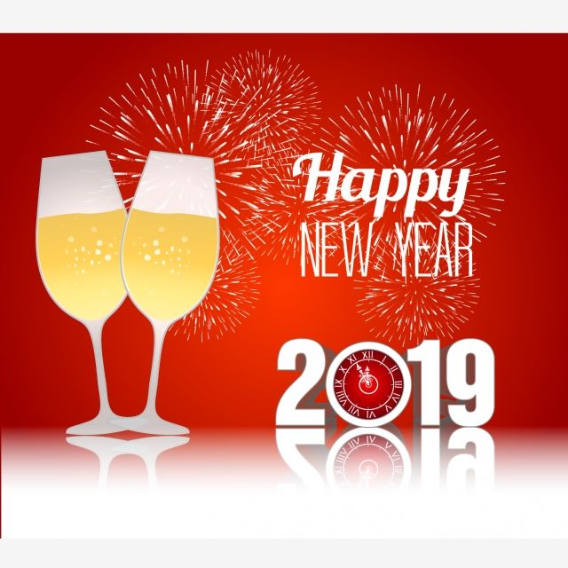 Happy New Year 2019 With Champagne Glasses And Firework.