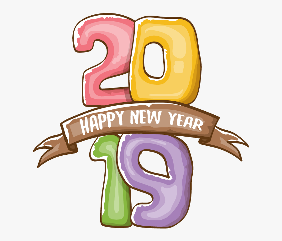 Happy New Year Poster 2019 On White Background , Free.
