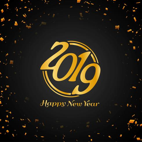 Happy new year 2019 colorful decorative background.