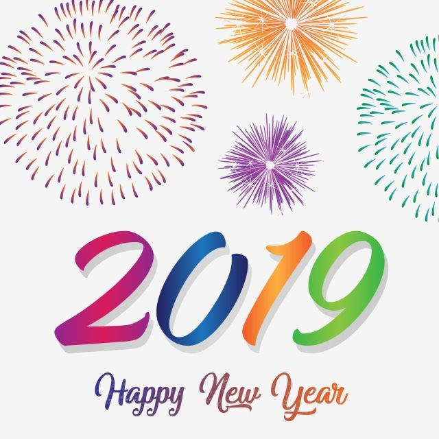 Happy New Year 2019 With Colorful Fireworks, Year, New, Happy PNG.