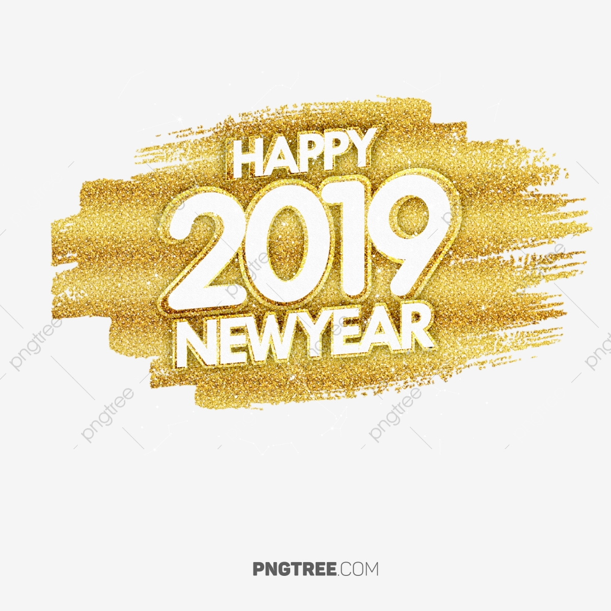 2019 Happy Newyear Golden Color, New Year, Happy New Year, 2019 PNG.