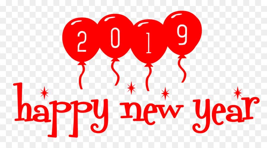 Happy New Year 2019 Text PNG Images Download.