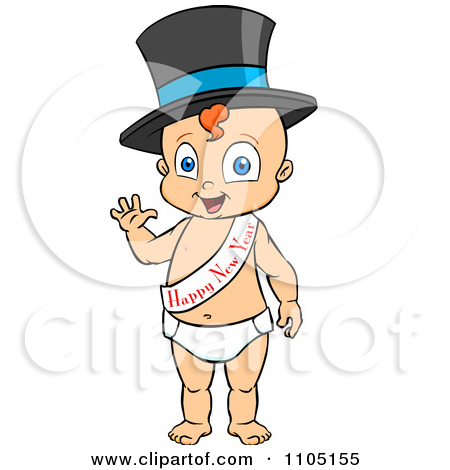 Clipart Baby Walking Upright And Wearing A Top Hat And Happy New.