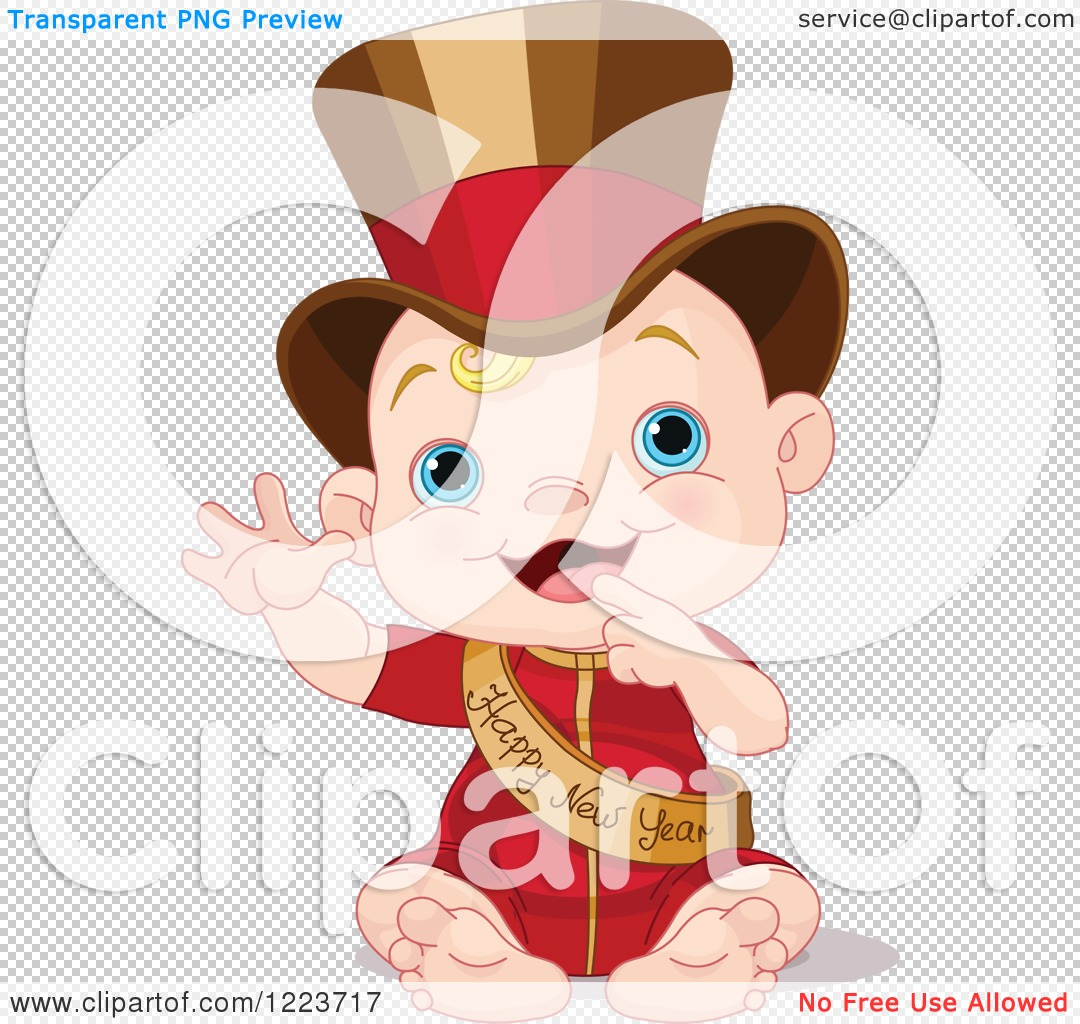 Clipart of a Waving Baby Wearing a Top Hat and Happy New Year Sash.