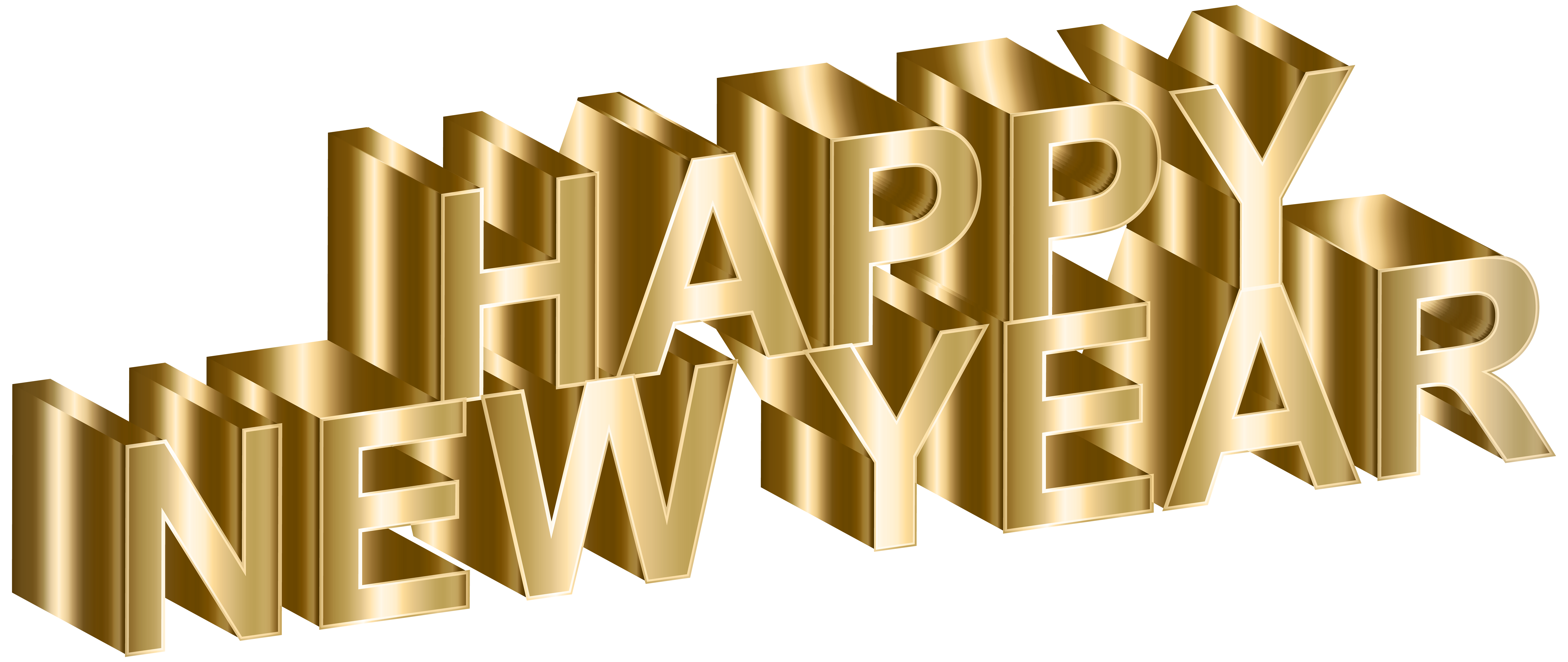 Gold Happy New Year Clip Art Image png download.