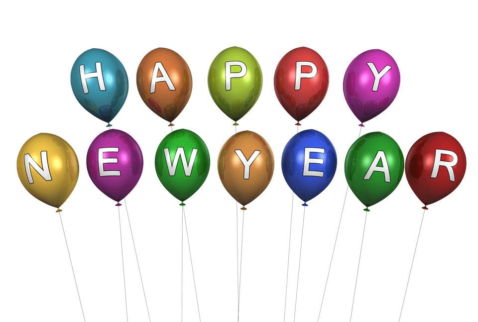 Happy New Year Balloons transparent PNG.