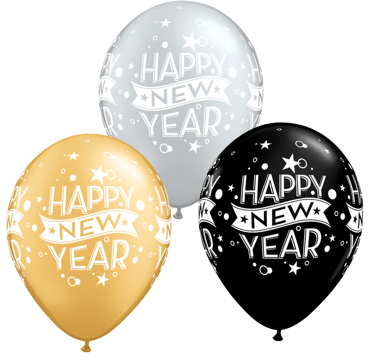 Happy New Year Silver, Gold, & Black Latex Balloons.