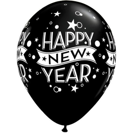 Black Classic Happy New Year Balloon.