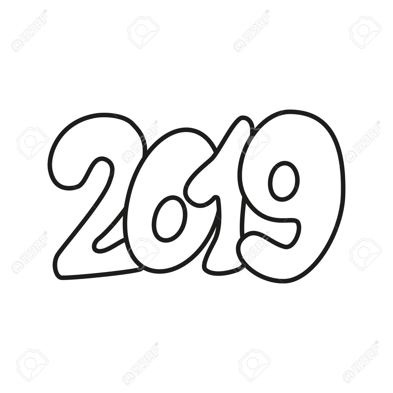 Happy New Year 2019 text design black and white.