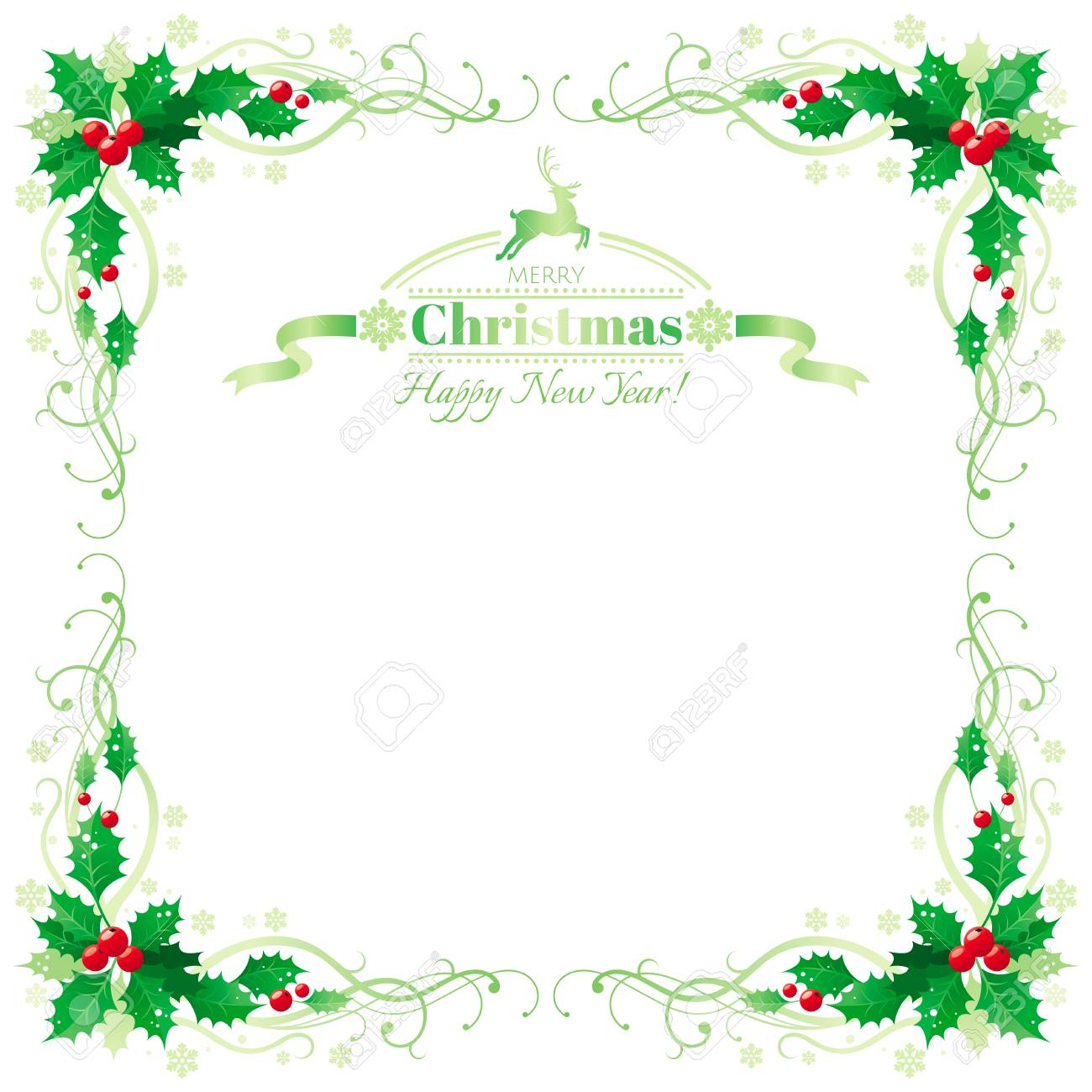 Merry Christmas and Happy new Year border frame with holly berry...