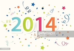 Happy New Year 2014 With Colorful Celebration Background.