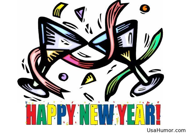 Funny clipart happy new year wishes.