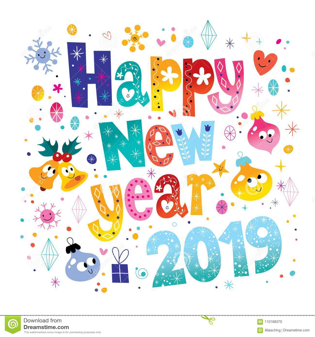 Happy New Year 2019 stock vector. Illustration of sparkle.
