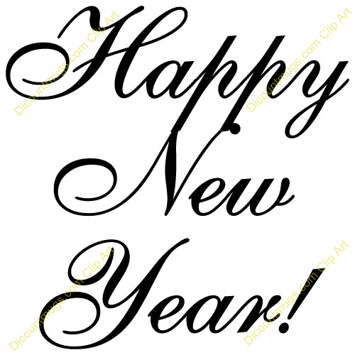 new years clip art black and white free