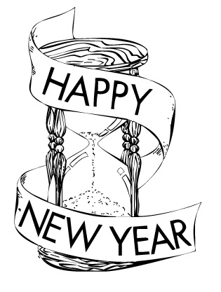 Happy New Year Black And White Clipart#1874855.