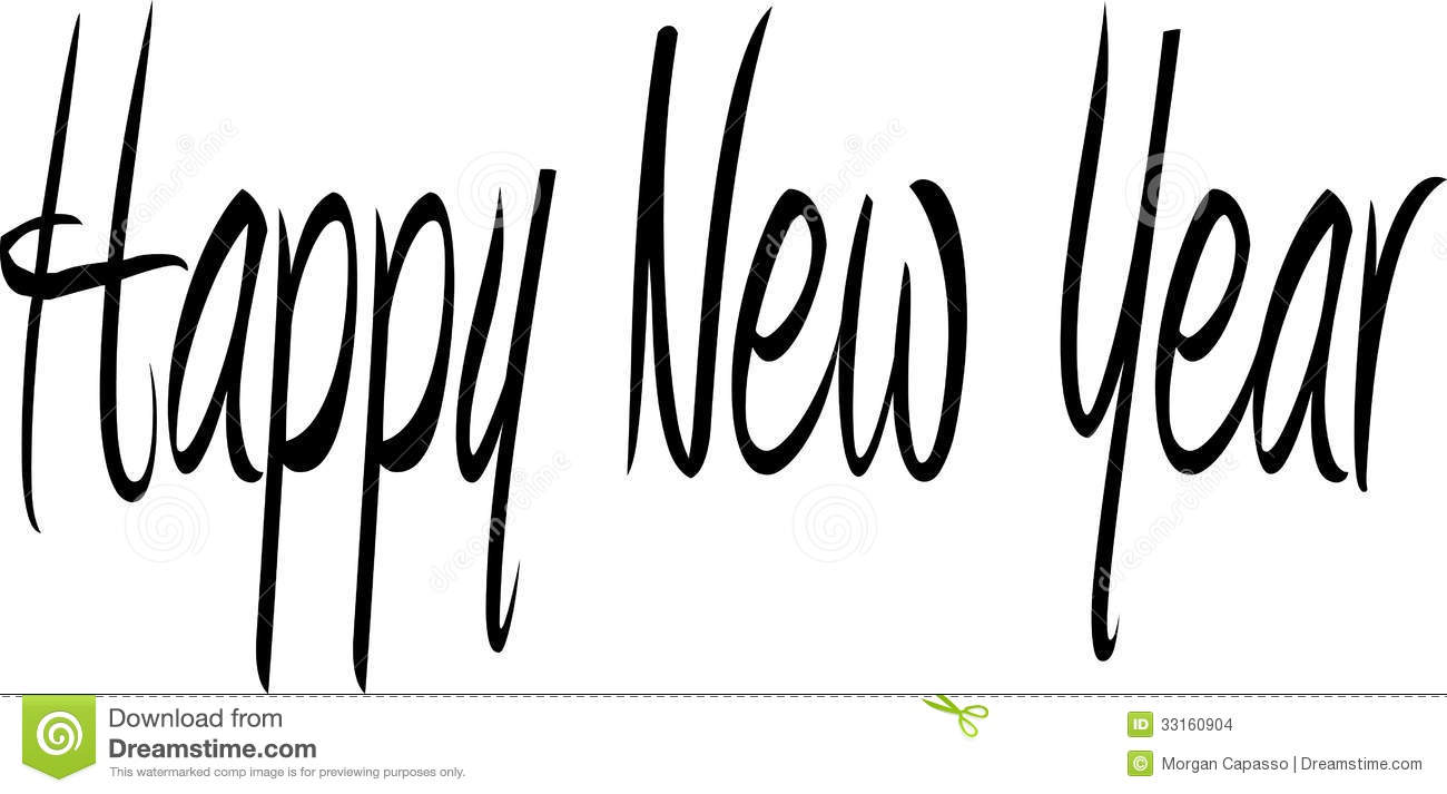 Black And White New Year Clipart.