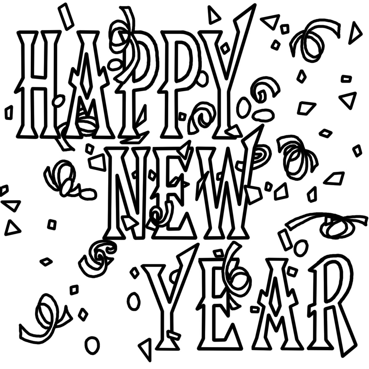 merry christmas and happy new year clip art black and white.