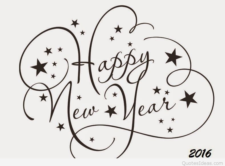 Black and white happy new year 2016 clipart.