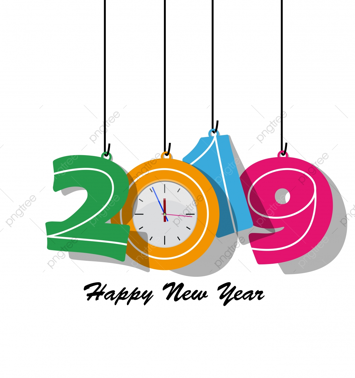 Happy New Year 2019, Happy, Wallpaper PNG and Vector with.