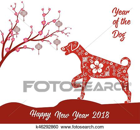 Happy Chinese new year 2018 card year of dog. Clipart.