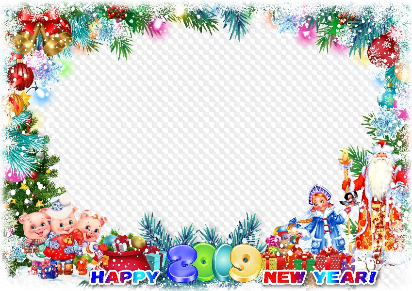 2019, Happy New Year! Photo Frame template. Transparent PNG.