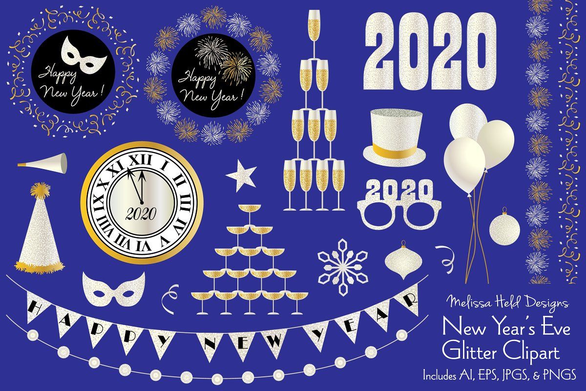 New Year\'s Eve Glitter Clipart.