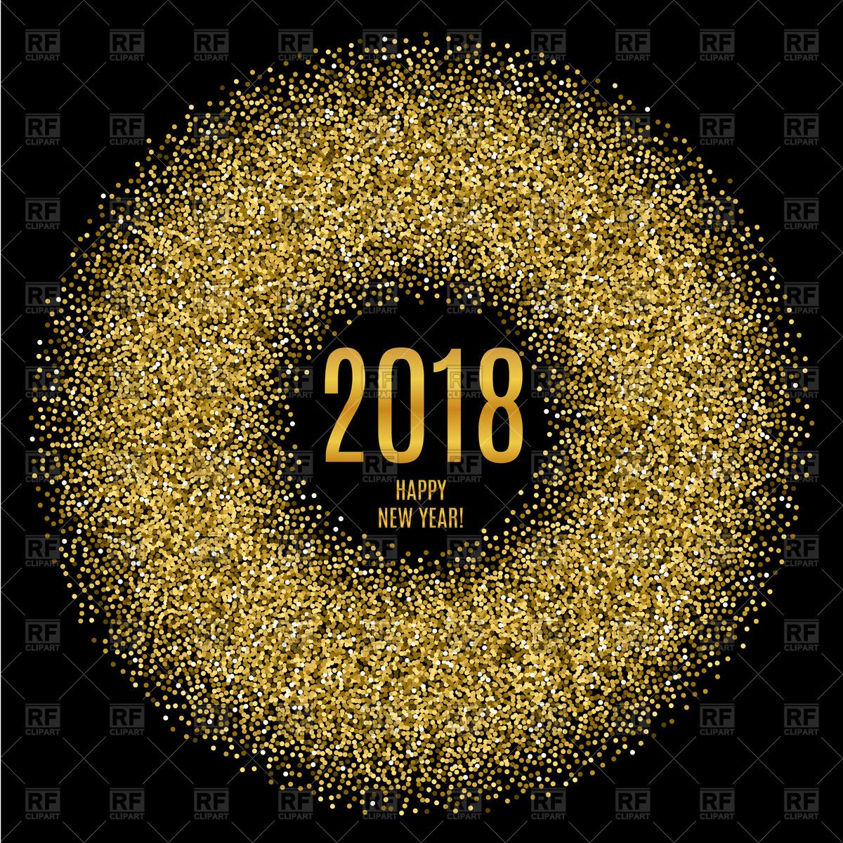 2018 Happy New Year poster with glitter circle Stock Vector.
