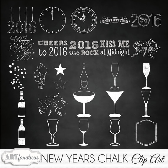 Happy New Years Holiday Clipart NEW YEARS CHALK.