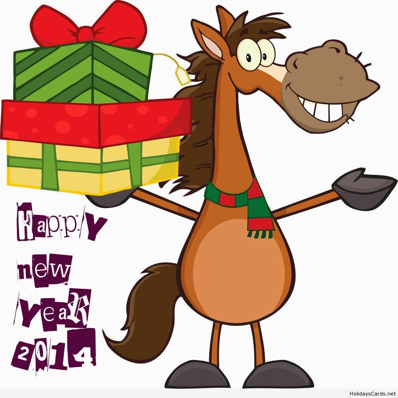 Happy new year funny horse cartoon.