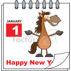Royalty Free RF Clipart Illustration Happy New Year Calendar With Open Arms  Smiling Horse clipart. Royalty.
