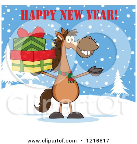 Clipart of a Happy New Year Greeting over a Brown Horse Holding.