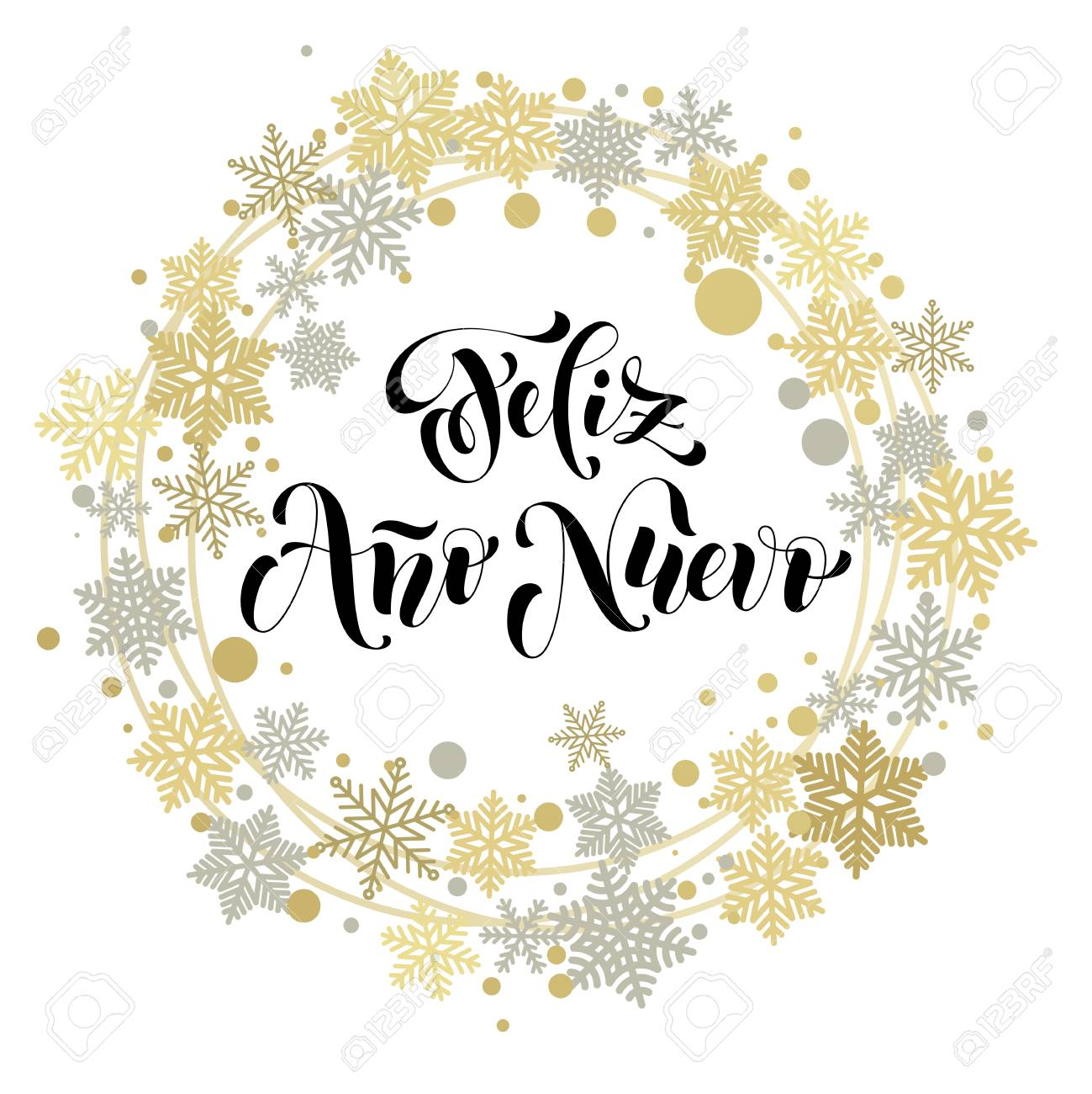 Happy New Year in Spanish text for greeting card. Feliz Ano Nuevo...